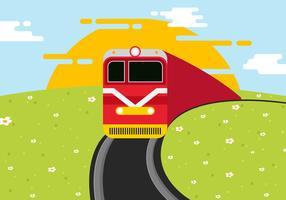Locomotive On Railroad Vector Illustration