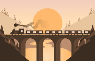 Locomotive Landscape Flat Illustration Vector