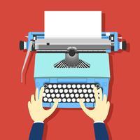 Vetor de máquina de escrever azul