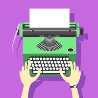 Green Typewriter Vector