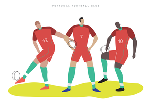 Portugal Coupe du monde football caractère plat Vector Illustration