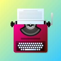 Manual Vintage Stylish Typewriter With Paper List Illustration vector
