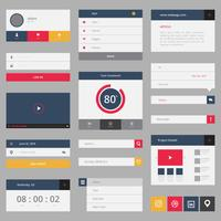 Wireframe Element Complete Set in Modern Youth Flat Style Design