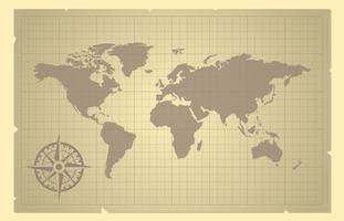 World Map And Compass Rose On Old Paper Illustration
