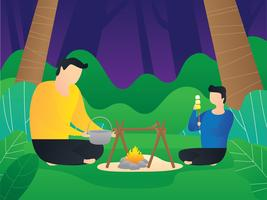 Father And Son Camping In Forest