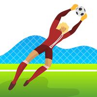 Modern Minimalist Iceland Soccer Player Goalkeeper for World Cup 2018 Catch a ball with gradient background vector Illustration