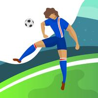 Moderner unbedeutender Island-Fußball-Spieler-Stürmer für die Weltmeisterschaft 2018, die einen Ball mit Steigungshintergrund-Vektor Illustration vorangeht