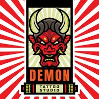 Japanese Demon Mask Tattoo Studio Logo
