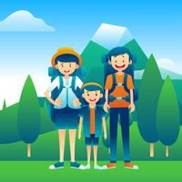 Family Vacation Hiking Vector