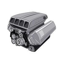 Modern bilmotor isolerad på vit