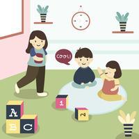 Crianças na sala de aula vetor
