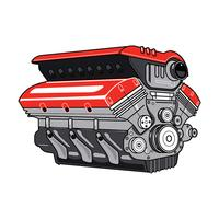 3D Car Engine on White Background