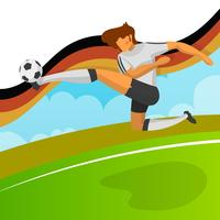 Modern Minimalist Germany Soccer Player for World Cup 2018 shooting ball with gradient background vector Illustration