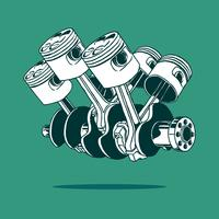Piston Car Engine Drawing Vector