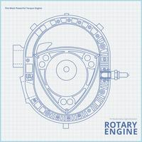 Rotary Car Engine Dibujo Ilustración.