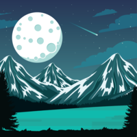Moon Spacescape Illustration
