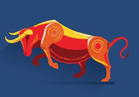 Bull Design on Blue Background