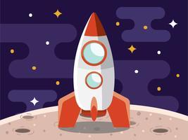 Rocket on Moon Illustration