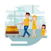 Family Vacation Vector Illustration
