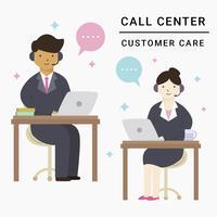 Servicio al cliente masculino y femenino Vector