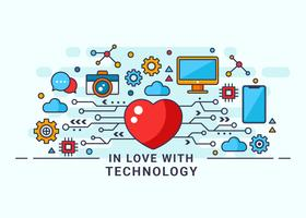 Modern In Love With Technology Vector Illustration