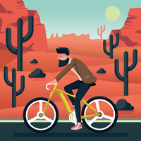 Riding a Bike Illustration