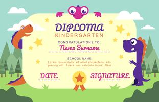 Kindergarten Diploma Cartoon Dinosaurs Fun Template Vector