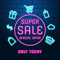 Neon Sale Background Vector