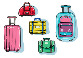 Bagages Colorfull moderne dessinés à la main Vector Illustration