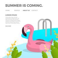 Inflatables planos de la piscina del verano Flamingo con la piscina del gradiente y la ilustración del vector del fondo de las plantas
