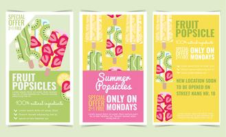 Vector Fruit Popsicles Posters