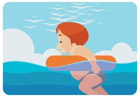 A Kid Swimming Vector