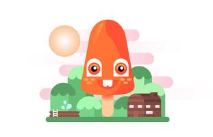 Verano Popsicles Friendly Orange Montaña plana ilustración vectorial