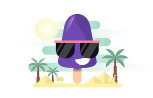 Summer Popsicles Friendly Blackberry Travel Flat Illustration Vector