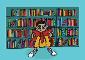 young boy reading in a library vector