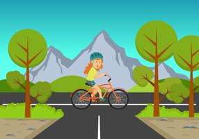 Girl Riding a Bike Background Illustration