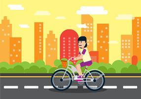 Tjej Ridning En Cykel Bakgrund Illustration