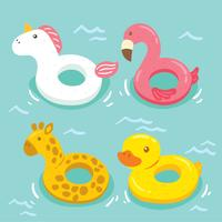 Cute Pool Inflatables Vector
