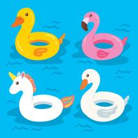 cartoon pool inflatables floats vector