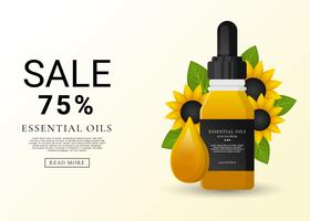 Essential Oils Sunflower Sale vector