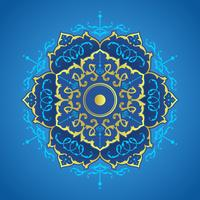 Blue And Gold Mandala Decorative Ornaments Vector