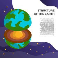 Platt Minimalistisk 3D Struktur av jorden vektor bakgrund illustration