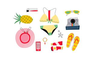 Mujer de playa con accesorios Knolling Starter Pack Vector Illustration