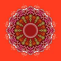 Mandala décoratif ornements vecteur de fond rouge