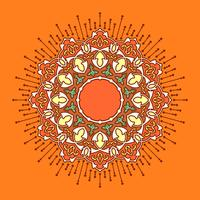 Mandala Decorative Ornaments Orange Background Vector
