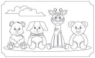 Vector Coloring Book Cute Animals