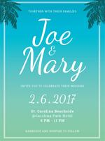Beach Wedding Invitation vector
