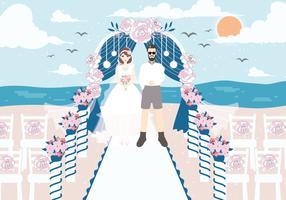 Vettore di matrimonio spiaggia