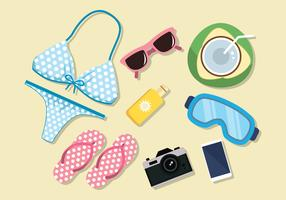 Beach Accessories Knolling Vectors