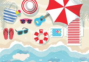 Beach-accessories-knolling-vector
